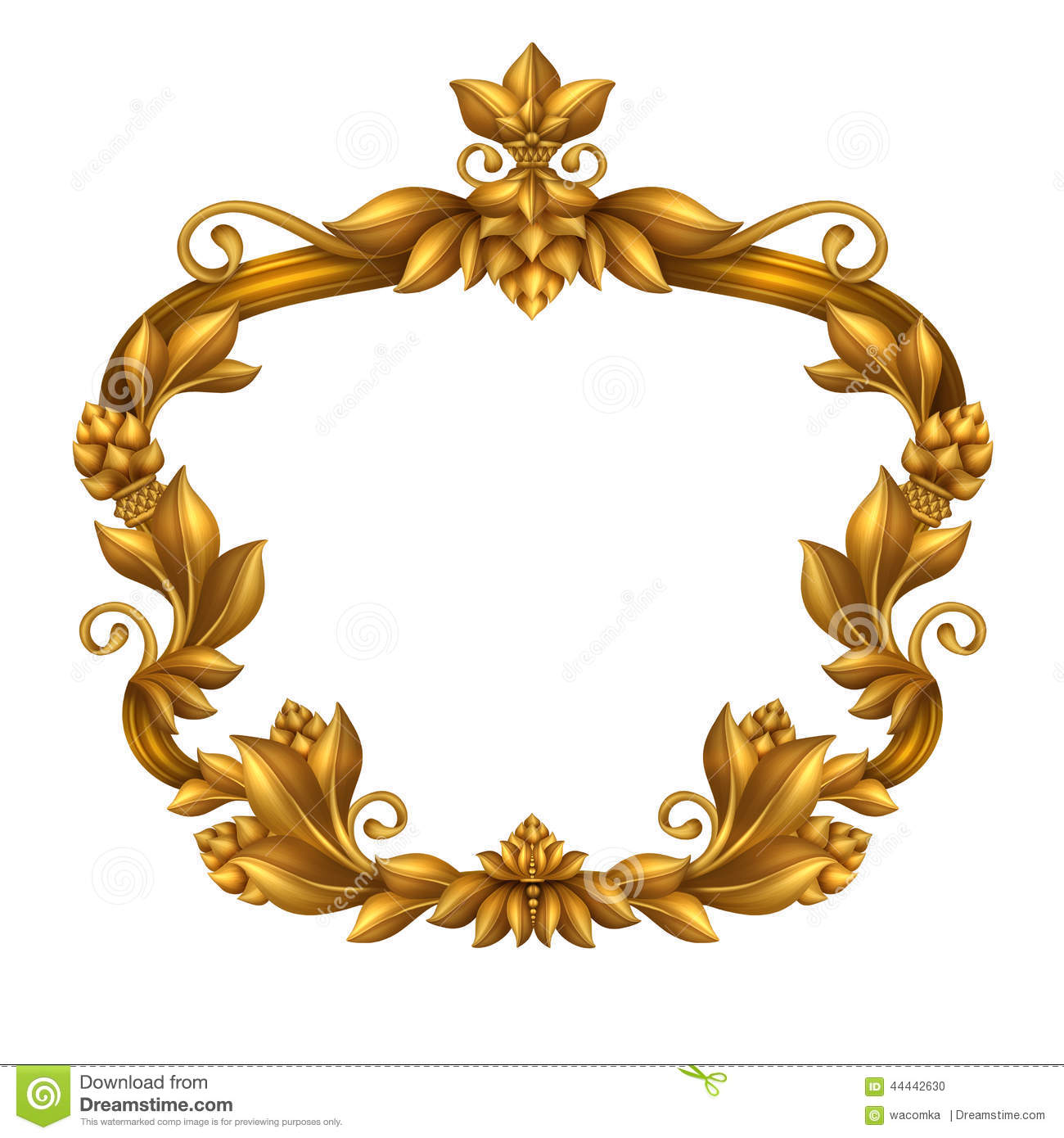 Decorative Gold Vintage Frame Isolated On White Background Festive Label Clip Art