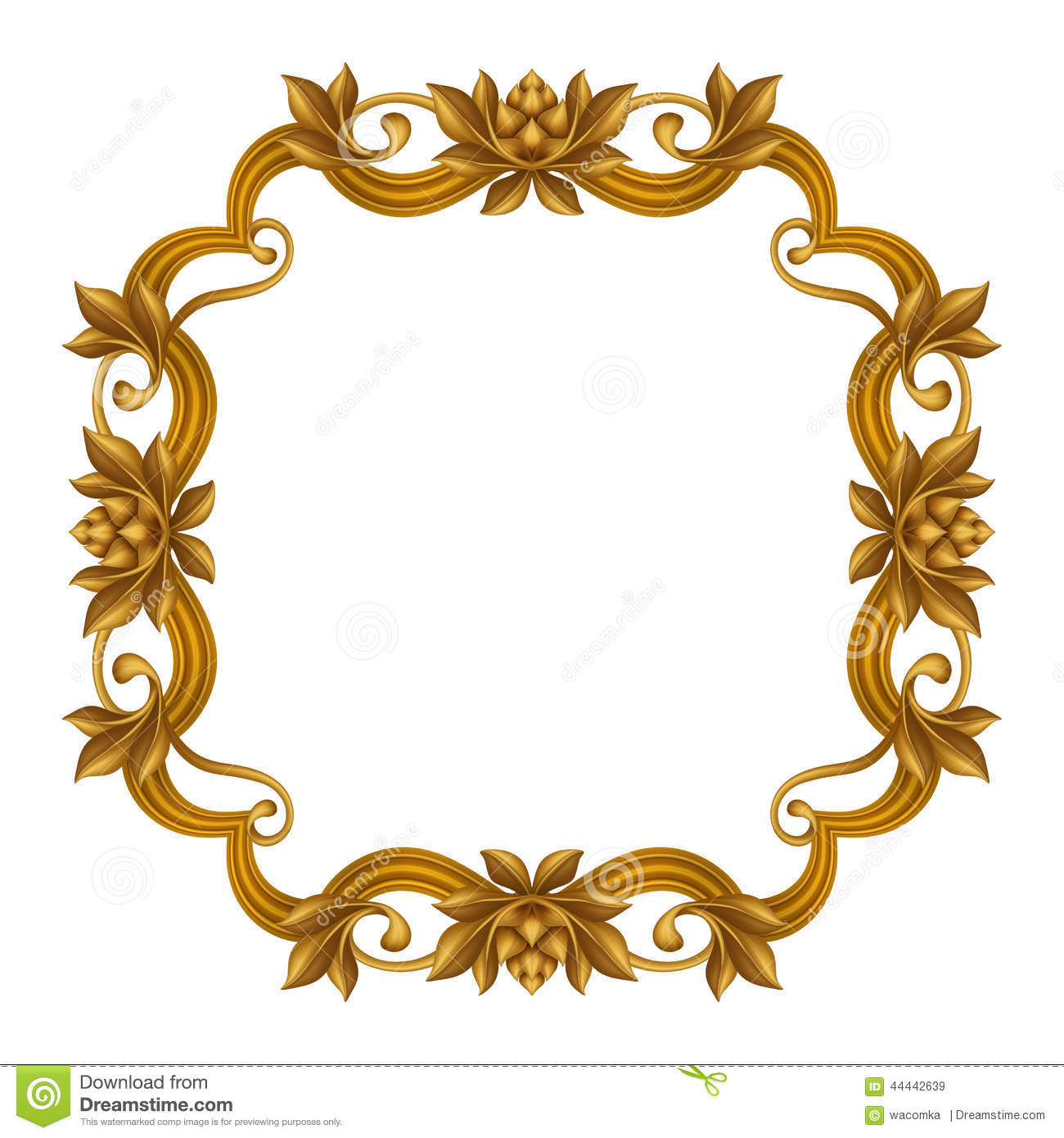 Decorative Gold Vintage Frame Isolated On White Background, Festive ...