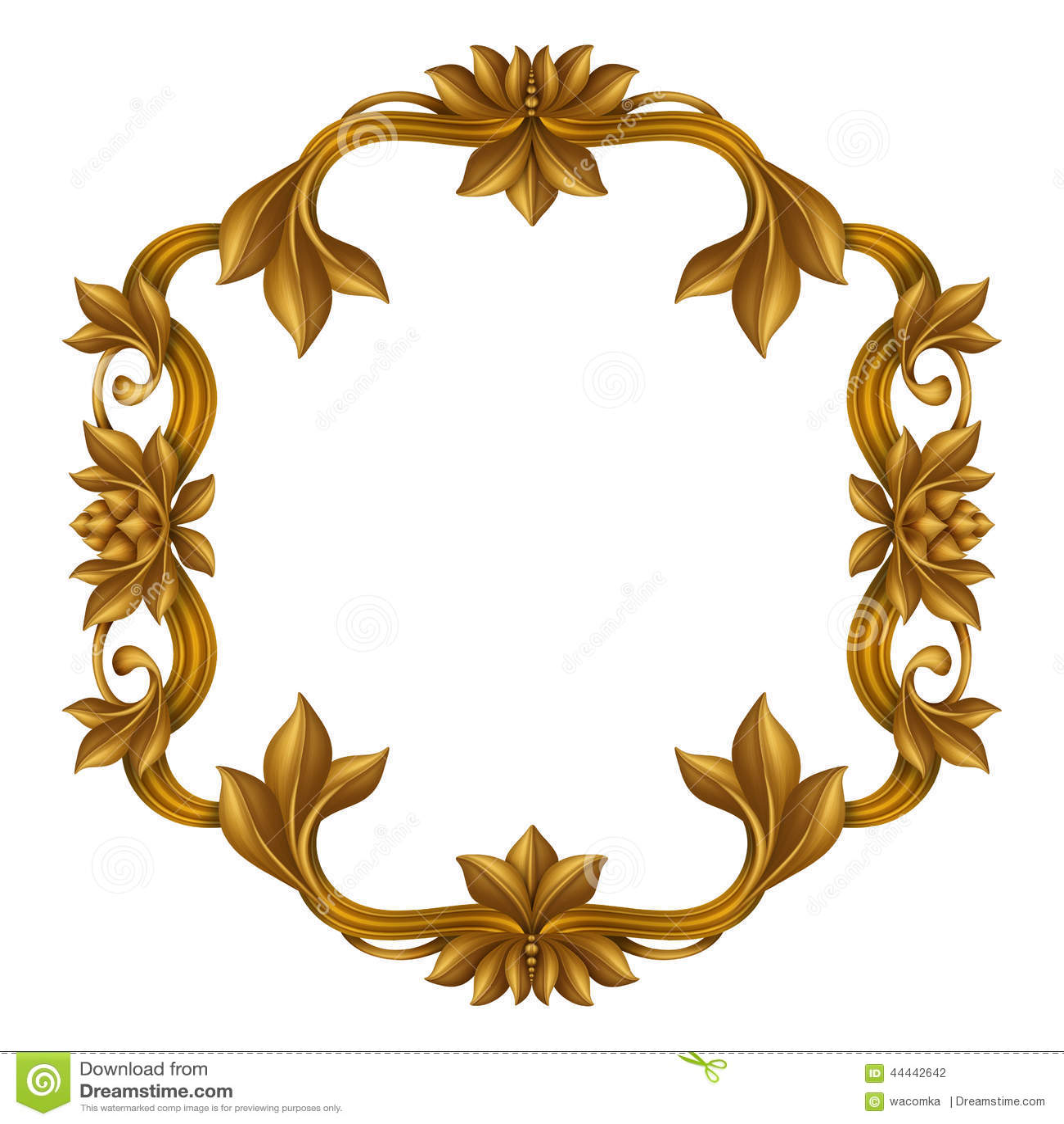 decorative gold vintage frame isolated on white background, festive