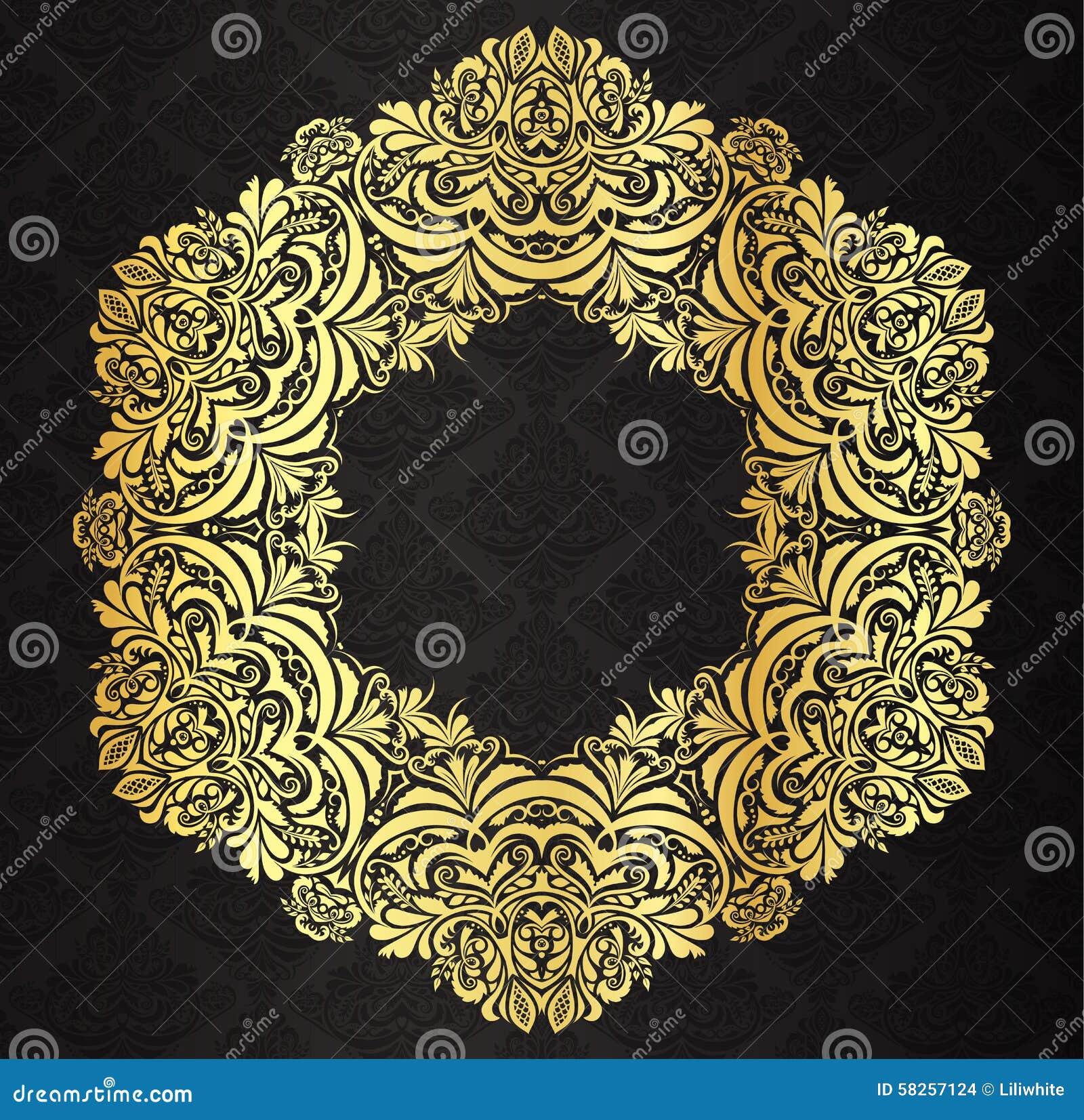 Decorative Golden Vintage Frame With Black Victori Stock ...