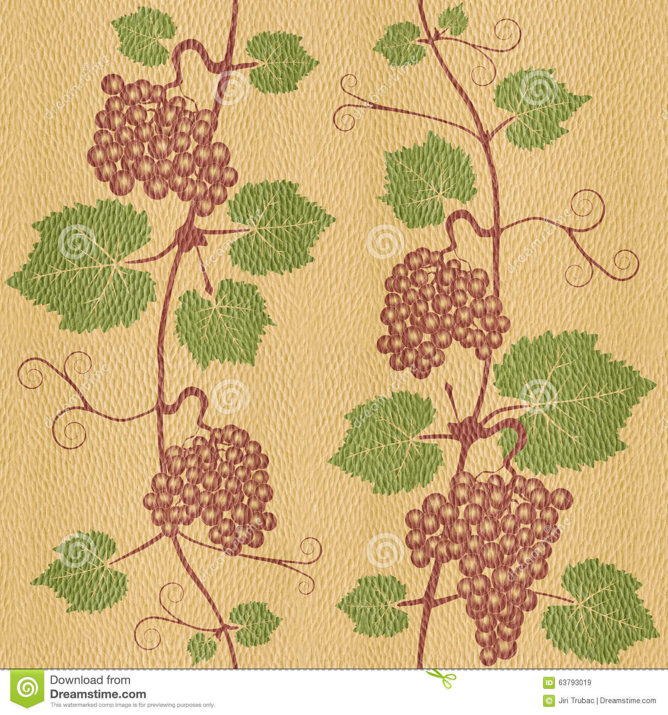 Decorative Grape Leaves - Seamless Background - White Oak Wood ...