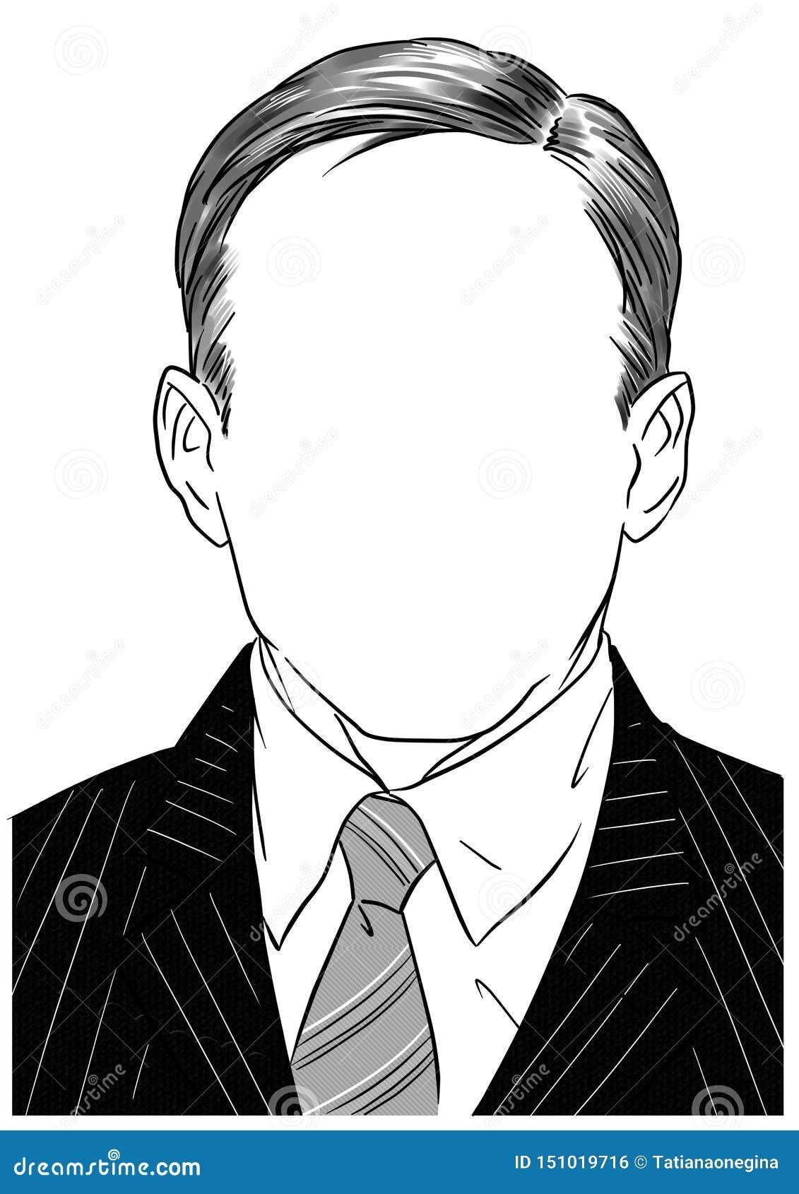 Faceless Man Portrait Graphic Illustration Stock