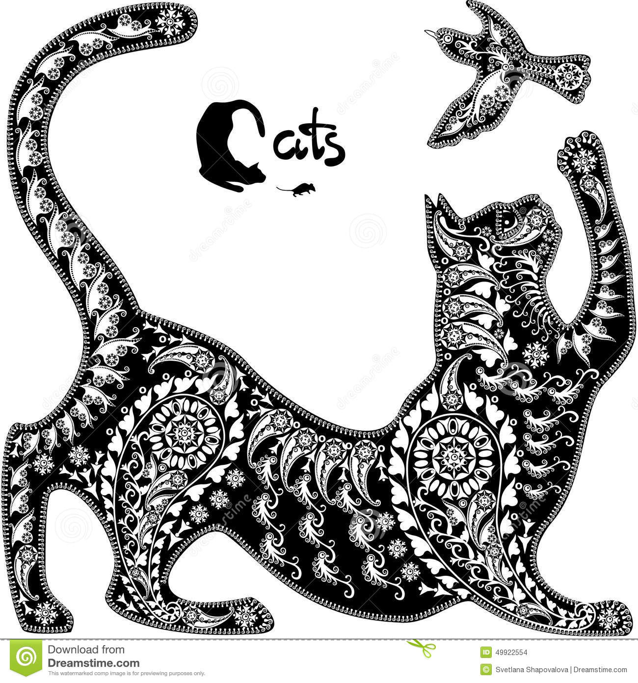 Decorative Graphic Image A Cat Playing With A Bird Stock