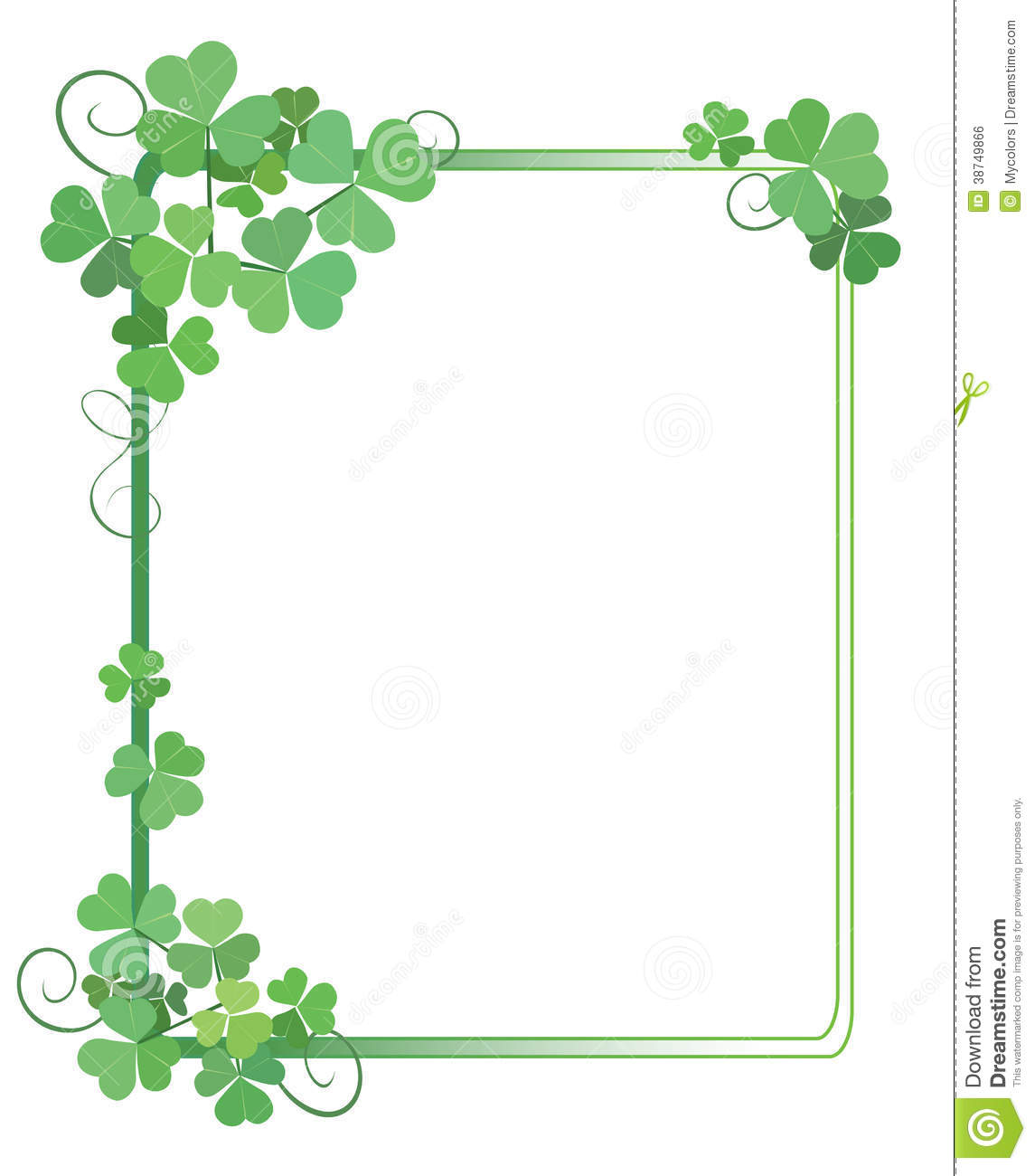 Decorative Green Frame With Shamrock - Vector Royalty Free Stock Image ...