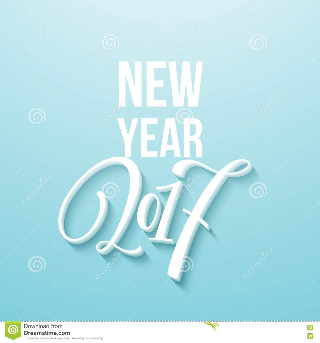 decorative greeting card with handdrawn lettering handwritten white phrase happy new year 2017 on blue background
