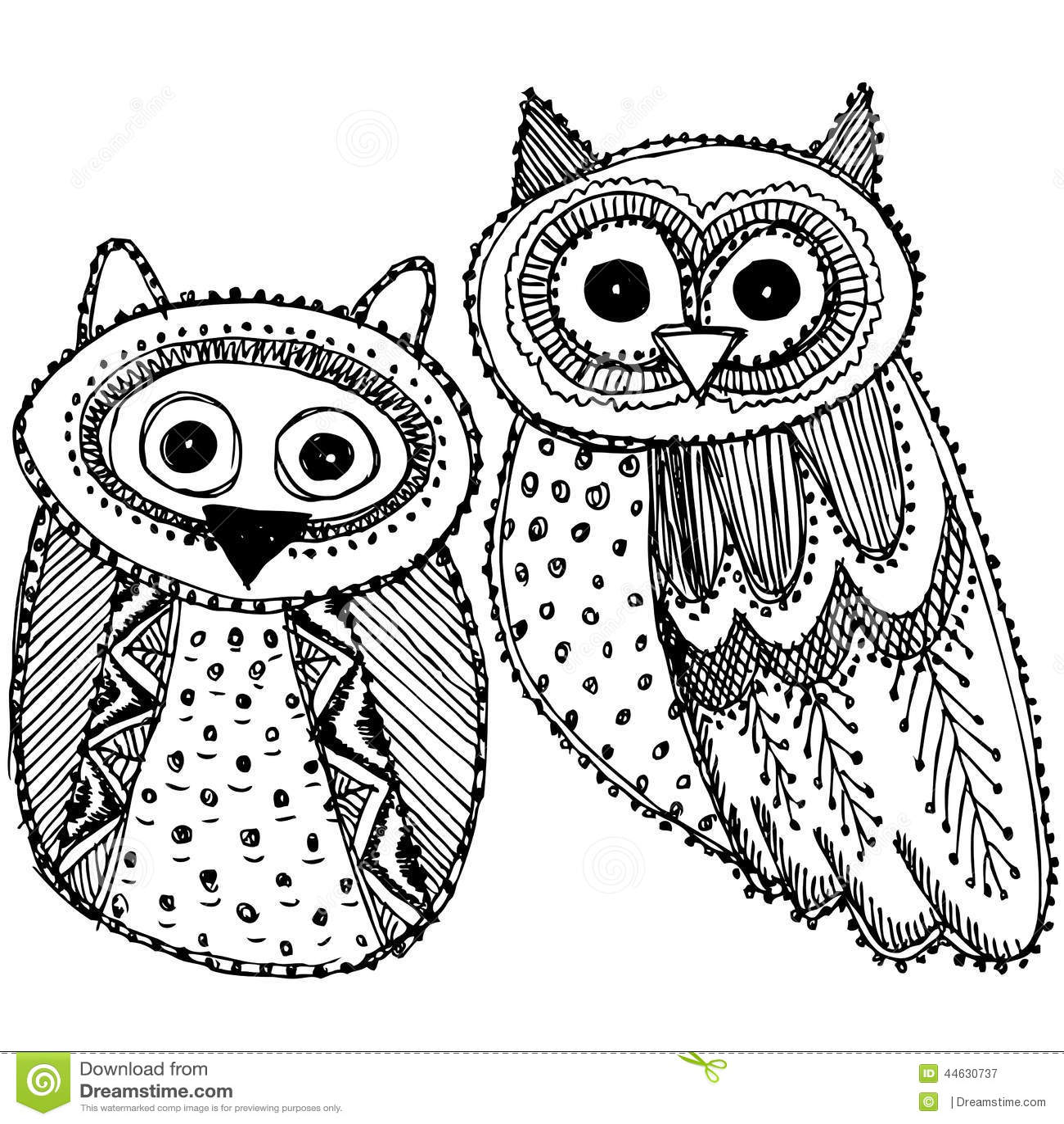 Owl Sketch Doodle blac...