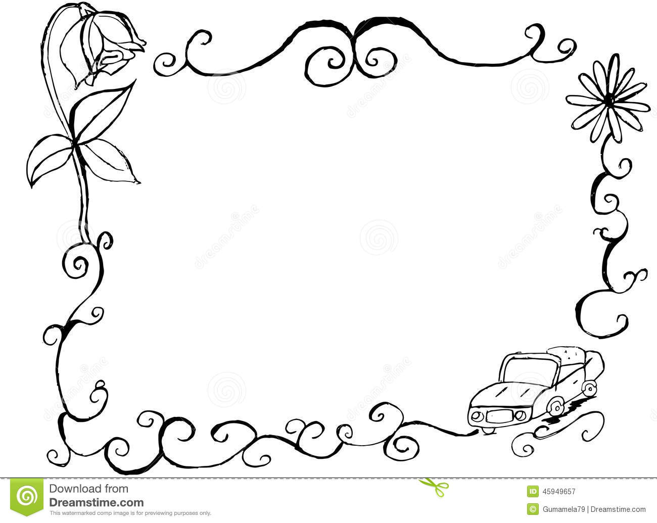 Dibujos De Marcos De Fotos Para Colorear: Decorative Hand Drawn Vintage Car And Floral Border And