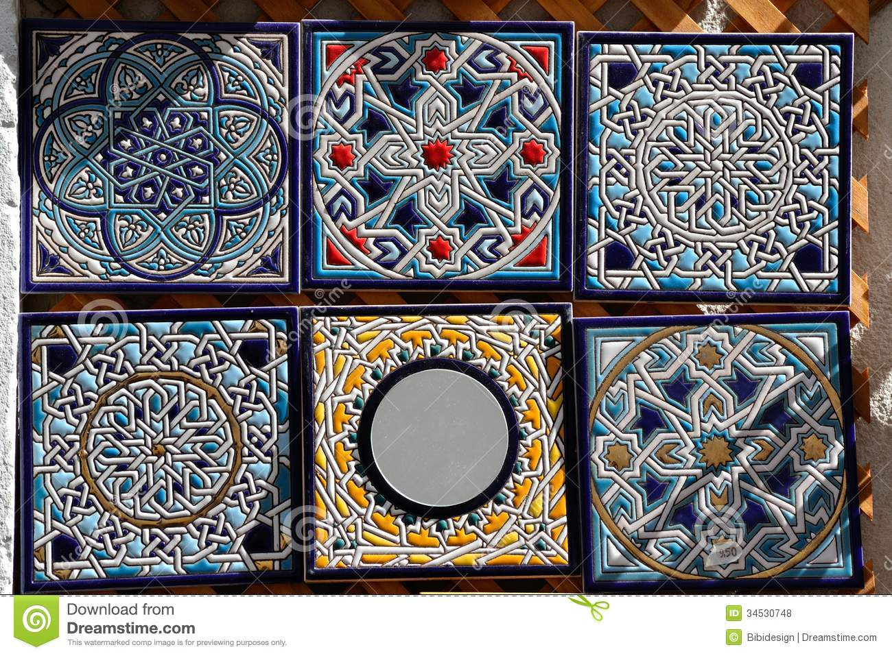 Decorative Hand Painted Ceramic Tiles For Sale. Stock Photo - Image ...