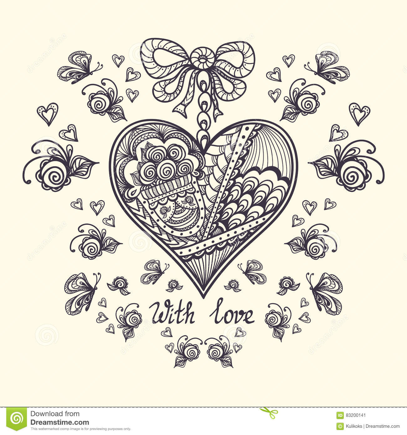 Decorative Heart In Zen-tangle Style For Relax Coloring Page Black ...