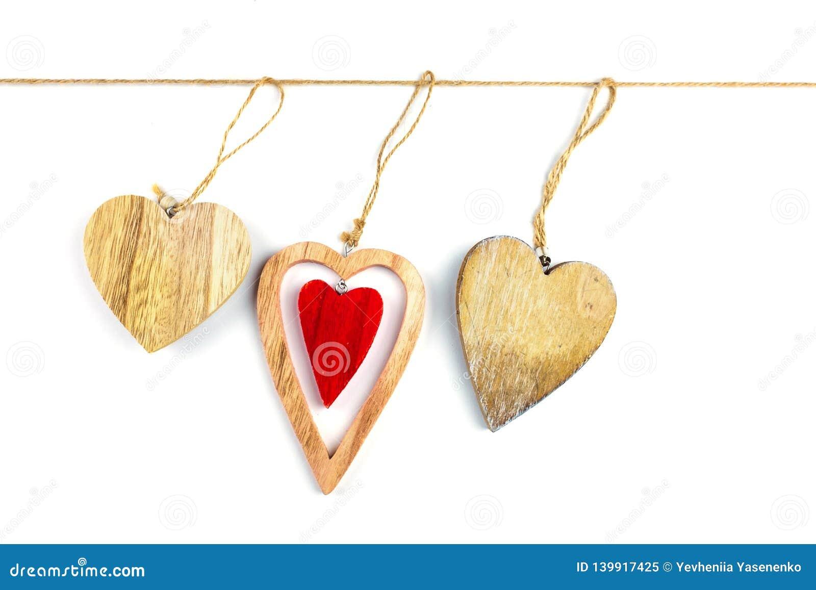 Decorative hearts on wood.