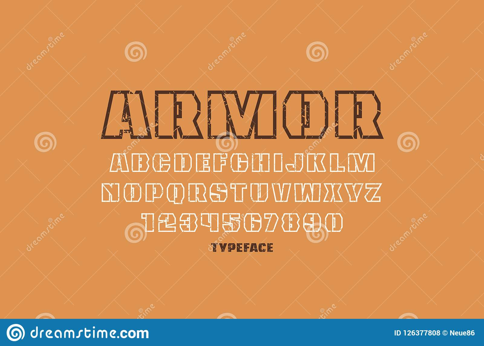 Decorative hollow sans serif font in military style letters and numbers with vintage texture for logo and emblem design