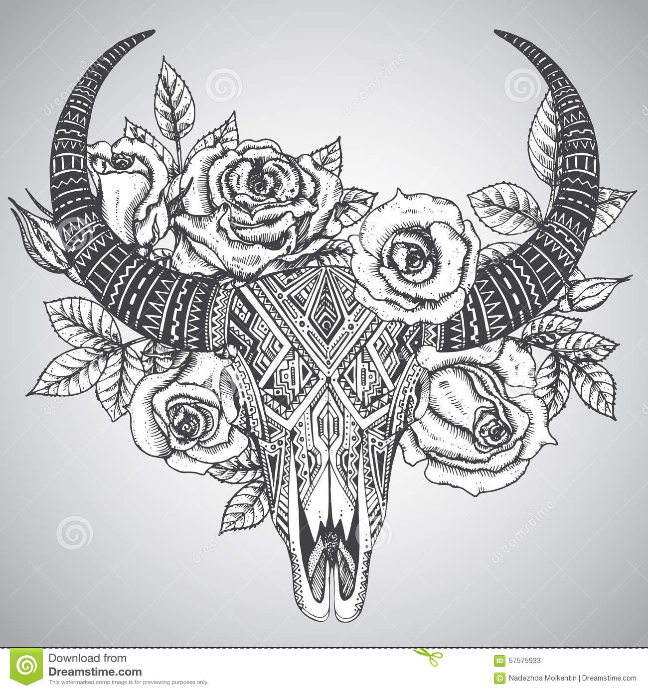 Tribal-Tattoos decorative-indian-bull-skull-tattoo-tribal-style-flowers-roses-leaves-hand-drawn-illustration-57575933