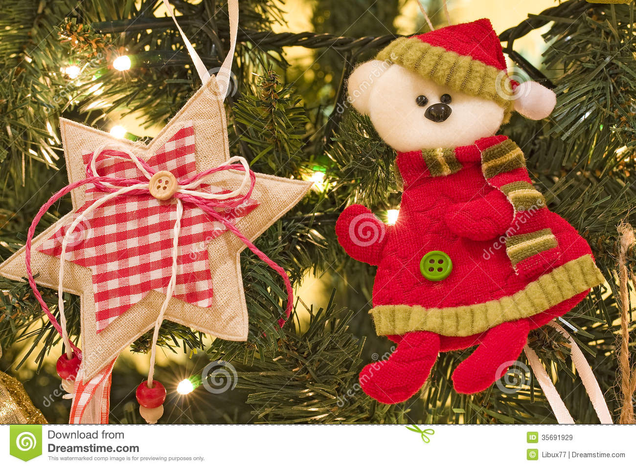 Decorative items on christmas tree closeup royalty free for Christmas tree items list