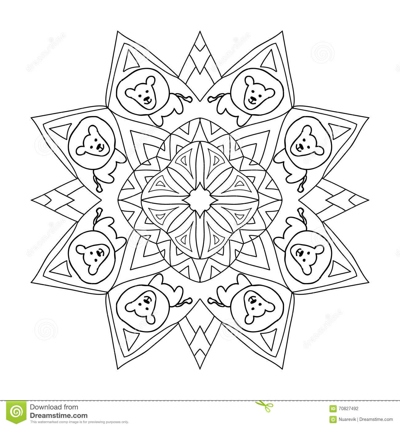 Decorative kids coloring mandala with lion stock for Lion mandala coloring pages