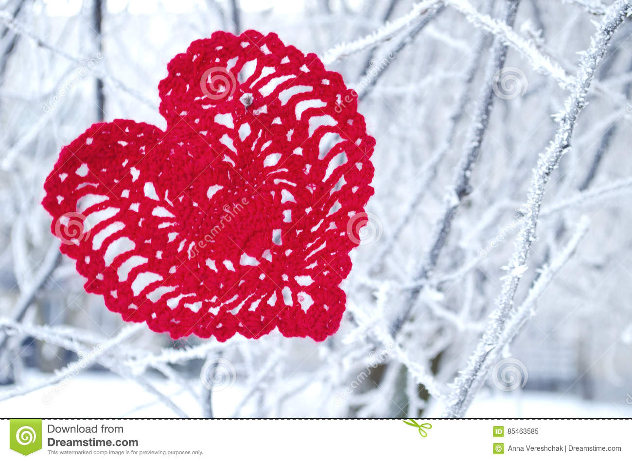 Decorative knitting heart on fir-tree branch. Winter holidays concept. Love concept background. February 14. Textile red heart on
