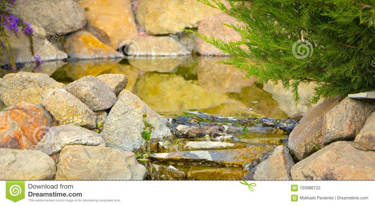 Decorative Koi Pond In A Garden Stock Photo - Image of country ...