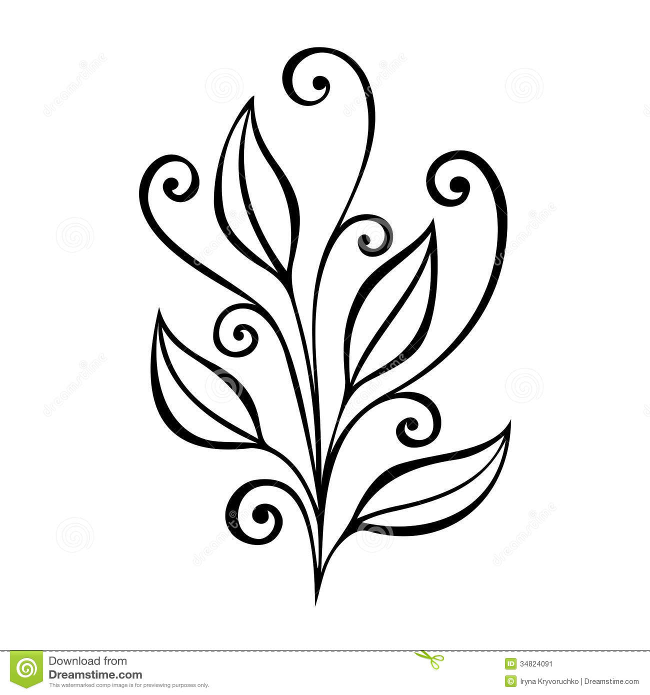 Decorative Leaf With Ornament Stock Image - Image: 34824091