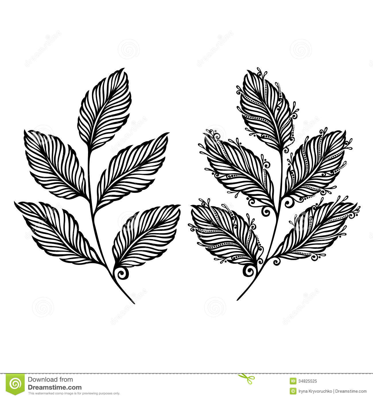 decorative leaf with ornament stock vector illustration of floral decor 34825525 dreamstime com
