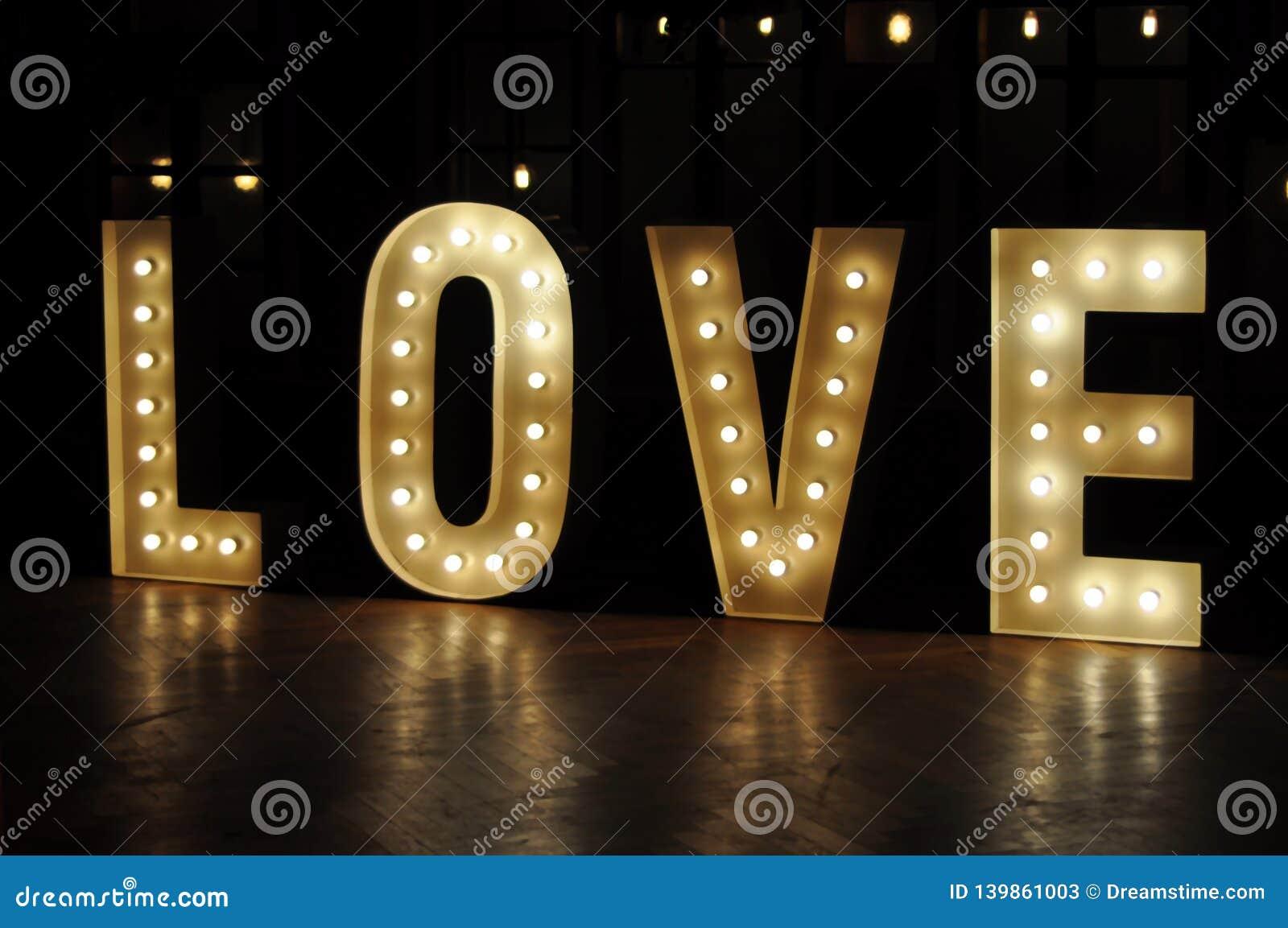 Decorative letter lights love