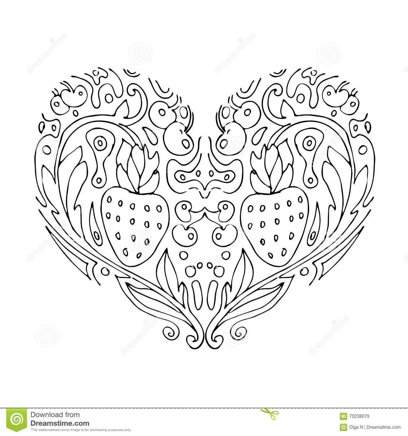 Coloring pages for adults valentines day - Decorative Love Heart With Flowers And Berries Valentines Day Card Coloring Book For Adult