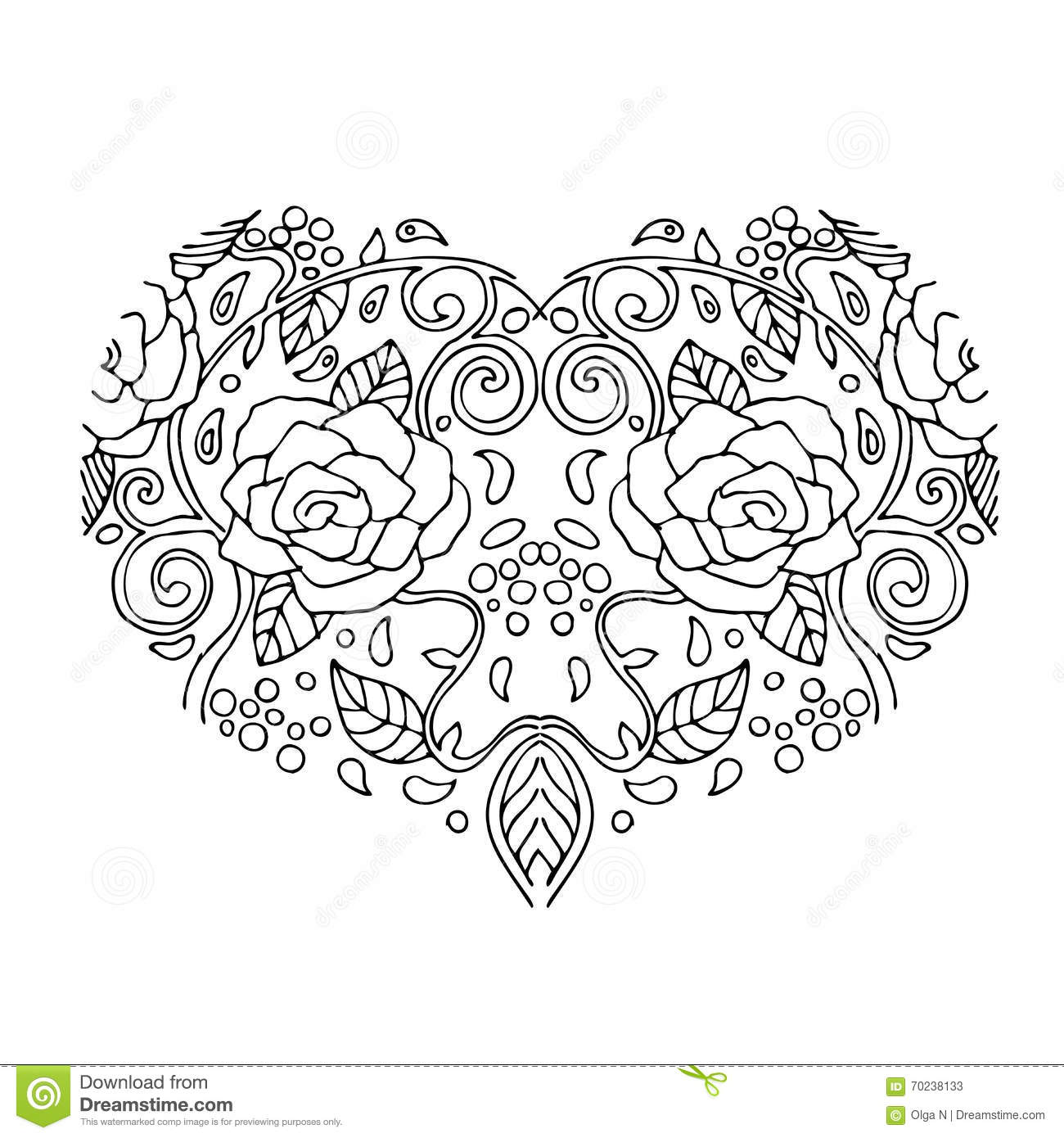 Decorative Love Heart With Flowers . Valentines Day Card. Coloring ...