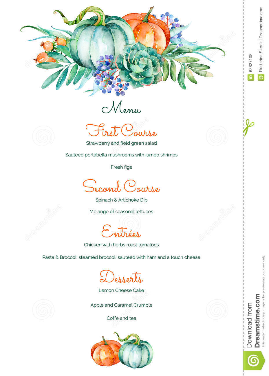 Decorative Menu Invitation Template Of High Quality Hand Painted ...