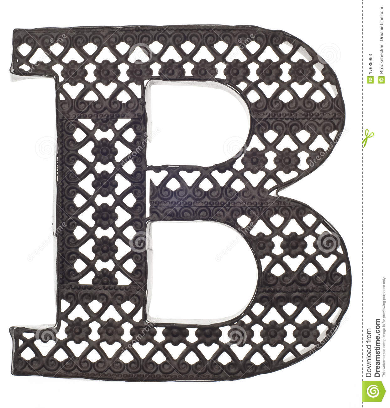 decorative metal letter b stock image image of letter. Black Bedroom Furniture Sets. Home Design Ideas