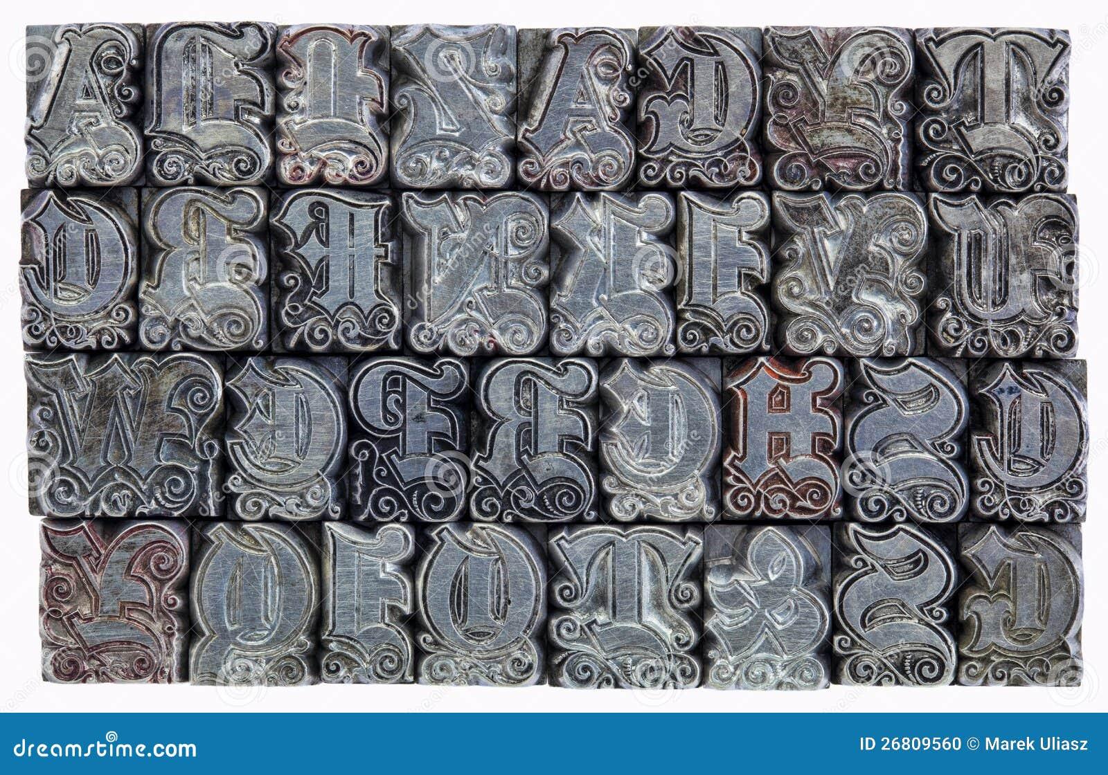 Decorative metal letterpress type stock photo image 26809560 - Type decoratie ...