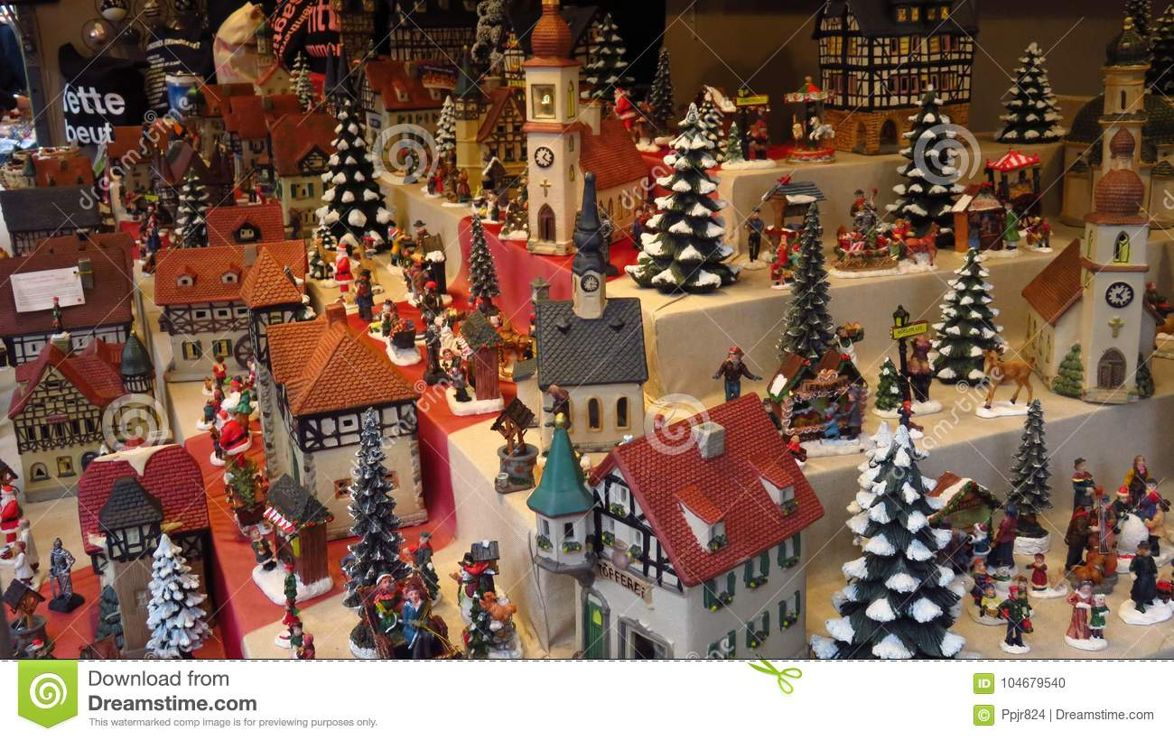 Christmas Houses Village.Decorative Miniature Village At Christmas Market Stock Photo