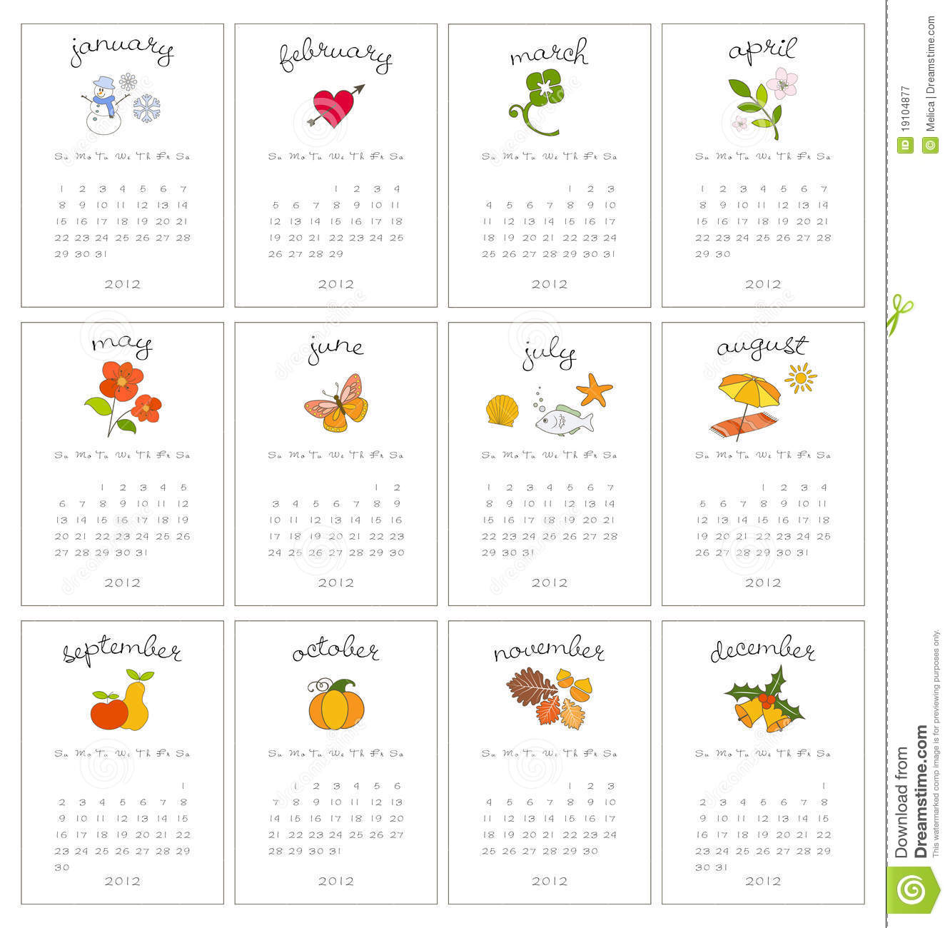 Decorative Monthly Calendars Royalty Free Stock ...