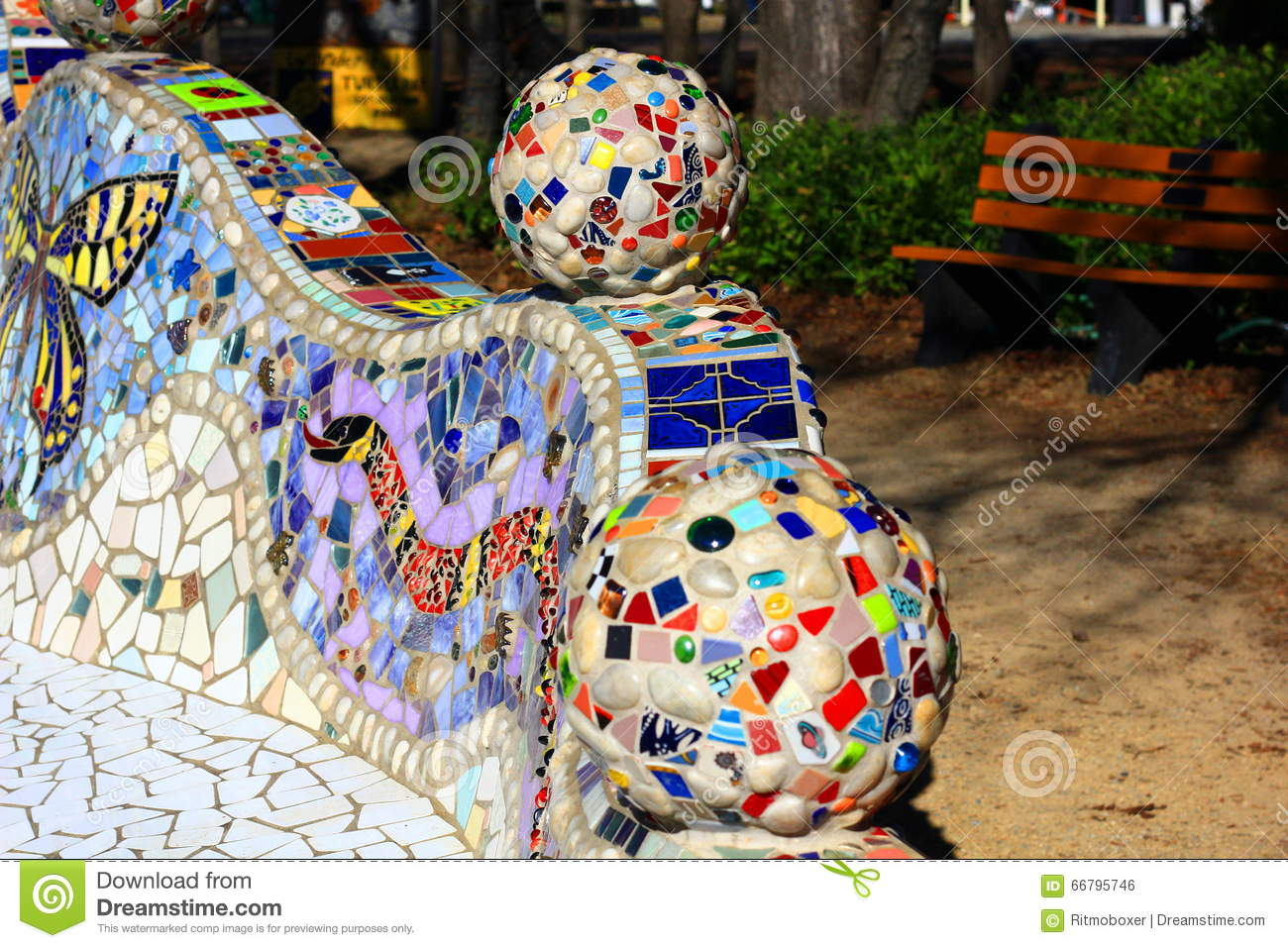 Decorative Mosaic Bench With Various Tiles Stock Photo