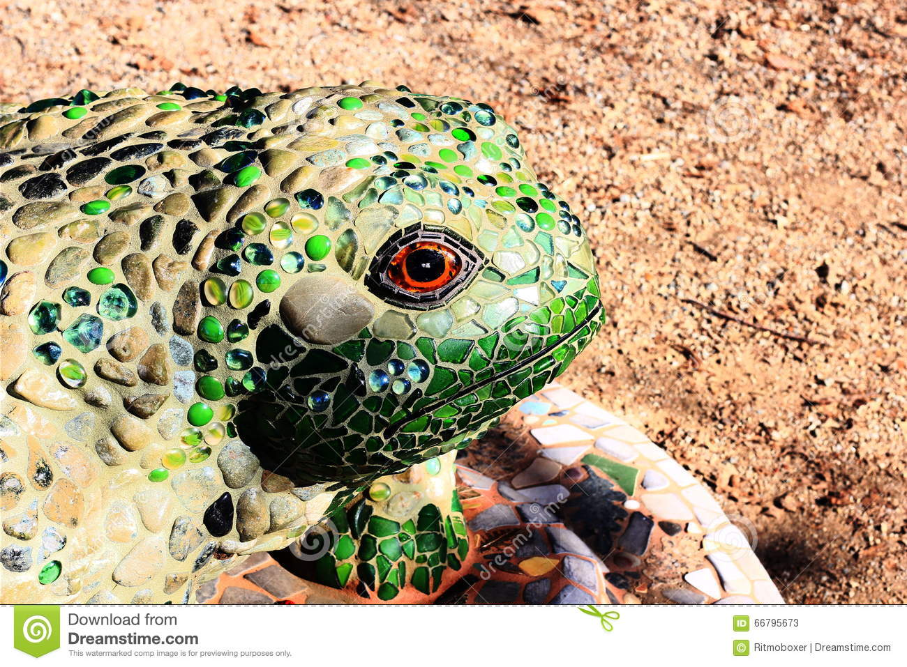 decorative mosaic tile frog in a garden stock photo - image: 66795673