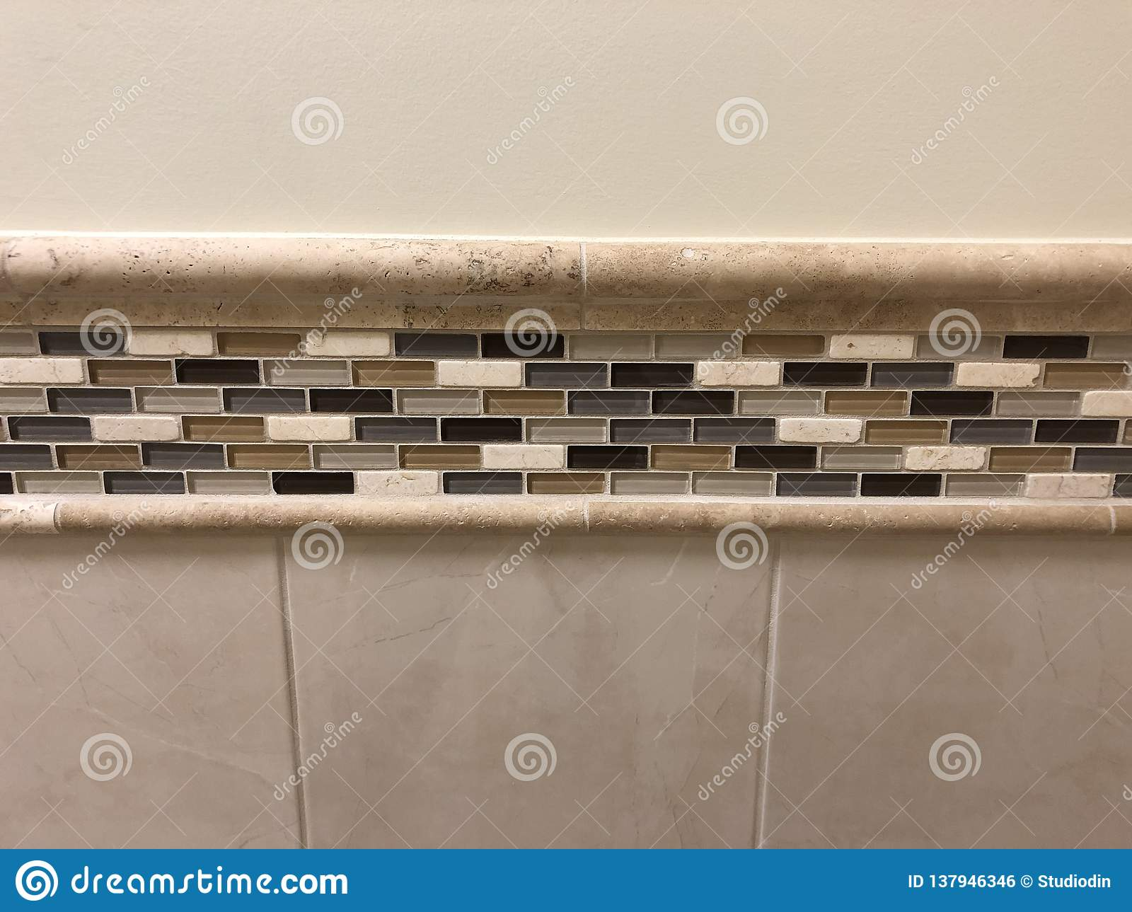 Decorative Mosaic Tiles Made Of The Glass And Stone, Close ...