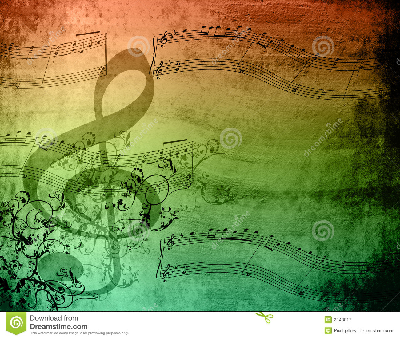 Decorative Music Notes stock image. Image of melody ...