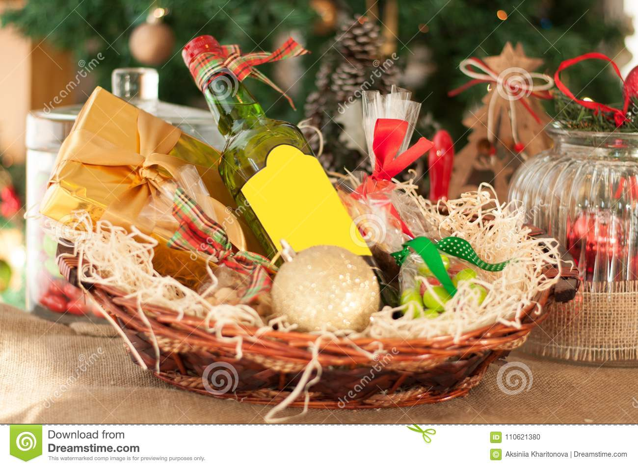 Decorative New Year`s Gift Baskets With A Set Of Sweets And Alco ...