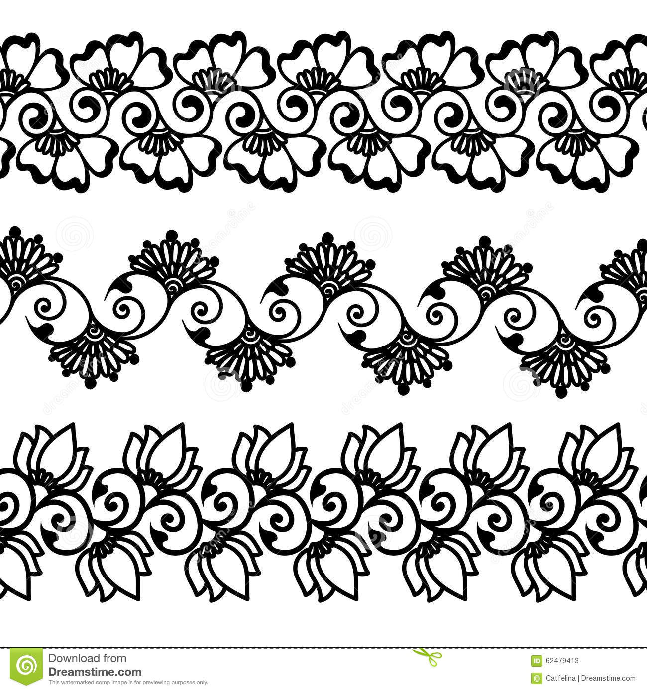 Decorative Black Flower Border Stock Image: Decorative Oriental Mehndi Flower Borders Stock Vector