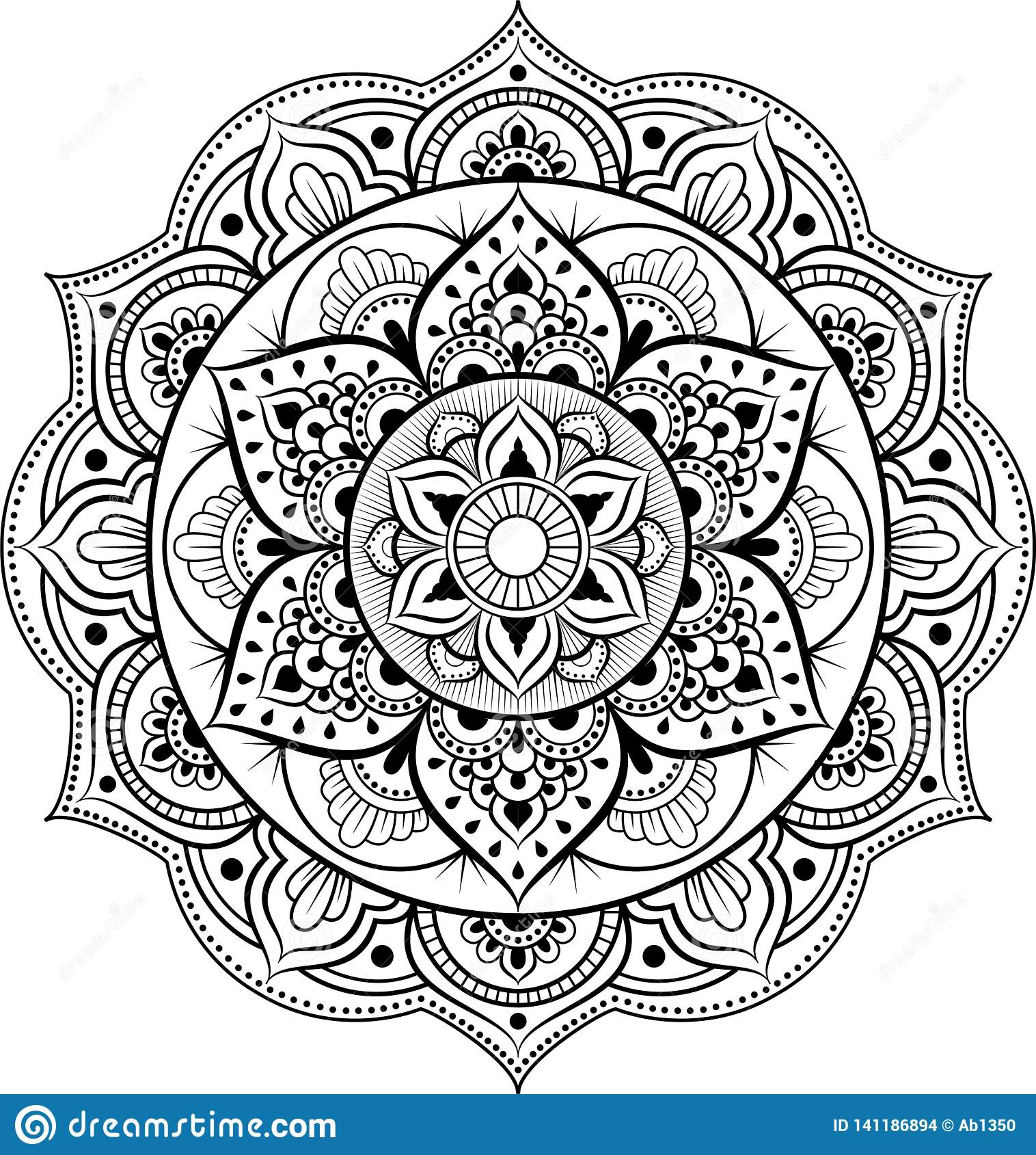 Decorative ornament in ethnic oriental style. Circular pattern in form of mandala for Henna, Mehndi, tattoo, decoration