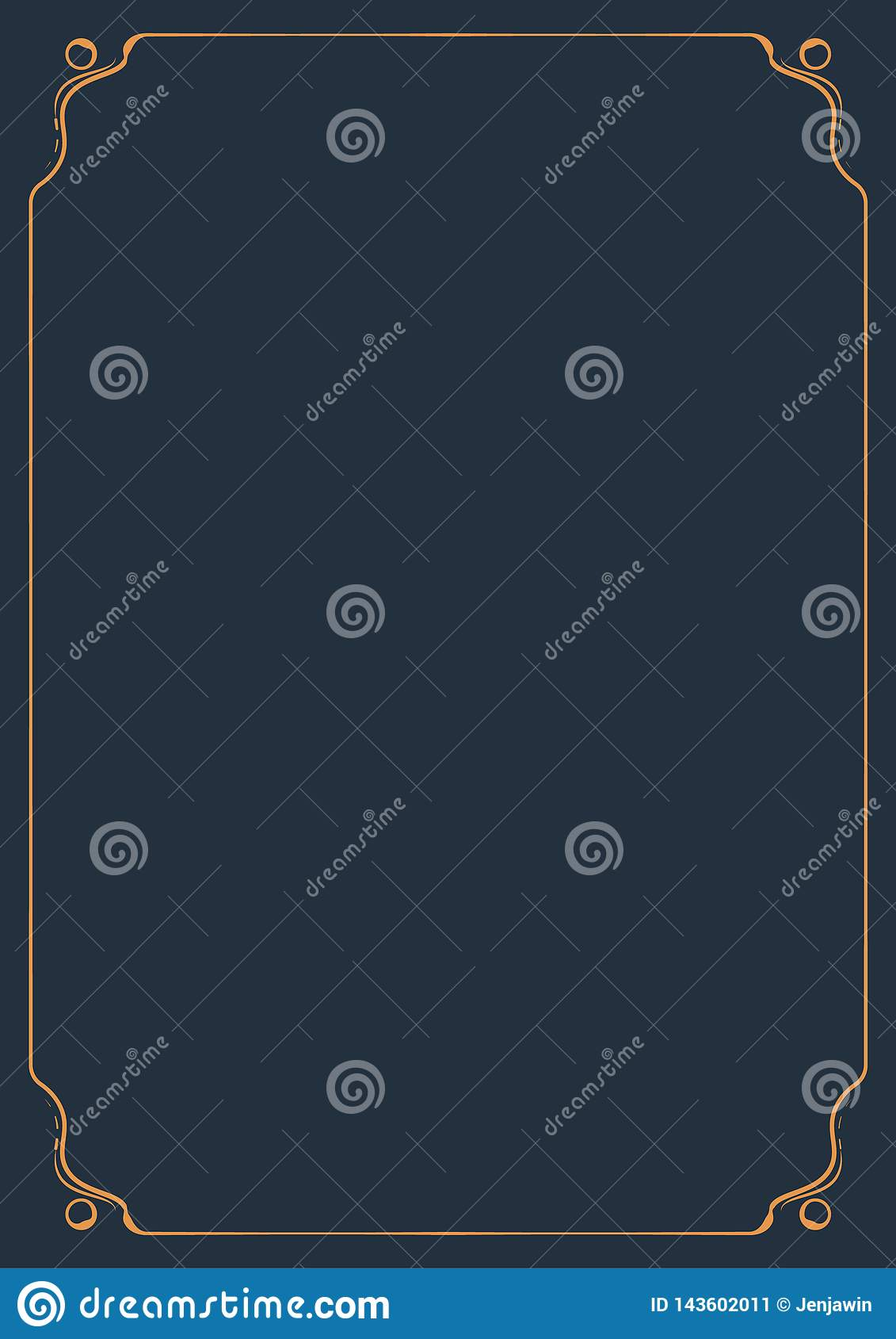 Decorative ornament vintage orange frame classic style for A4 page. Ornament Frame for page A4 vector.