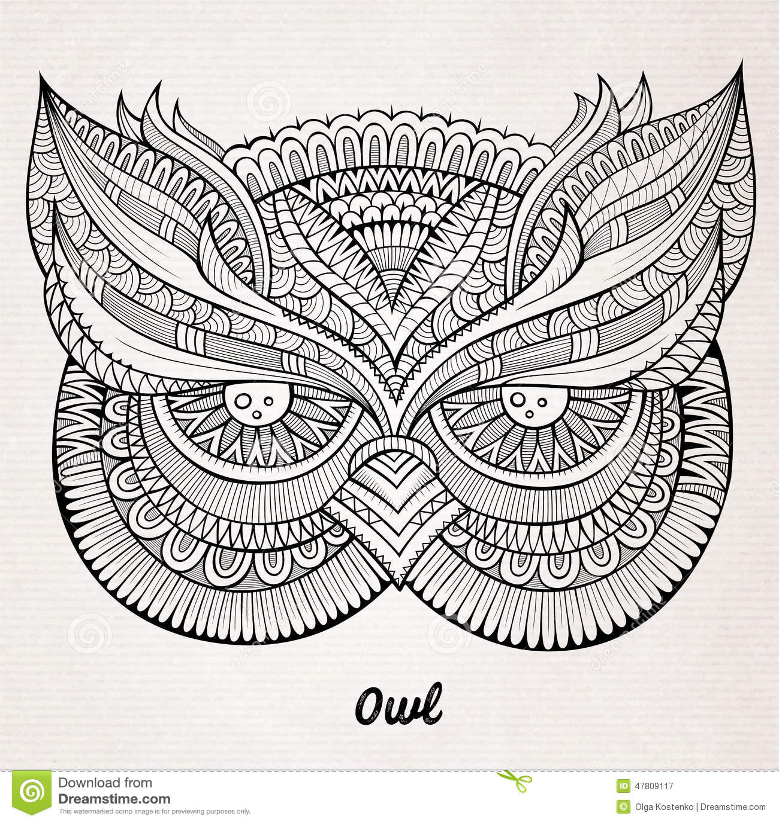 Decorative Ornamental Owl Head Stock Vector