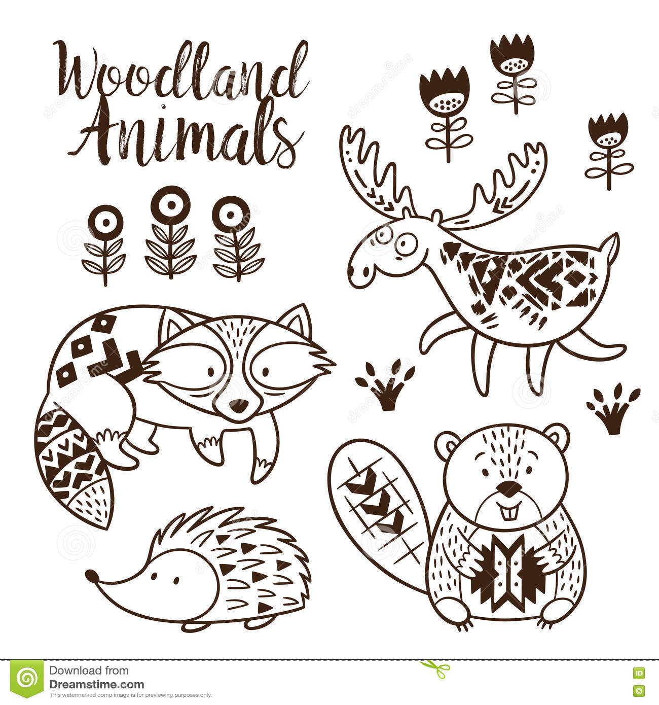 decorative ornamental woodland animals vector set stock vector illustration of collection. Black Bedroom Furniture Sets. Home Design Ideas