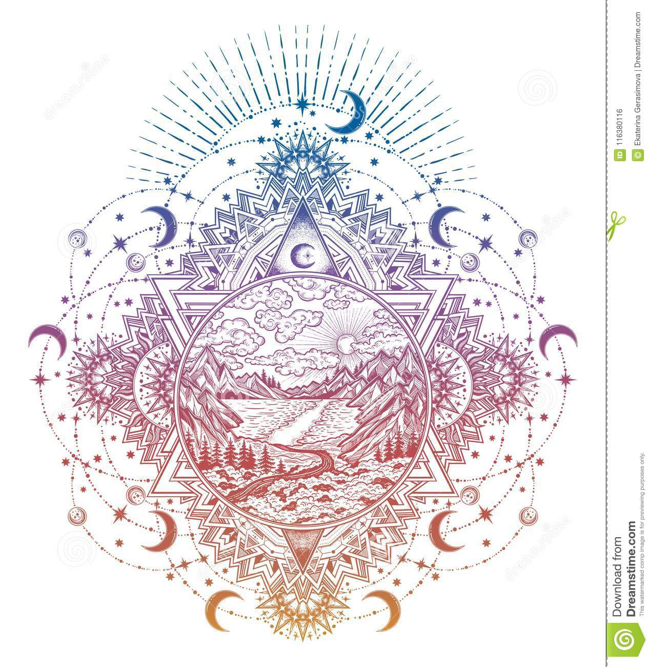 ornate frame tattoo cat decorative ornate frame with round artwork wilderness landscape scene lake road pine forest and mountains vector illustration isolated ornate frame with landscape forest and mountains stock