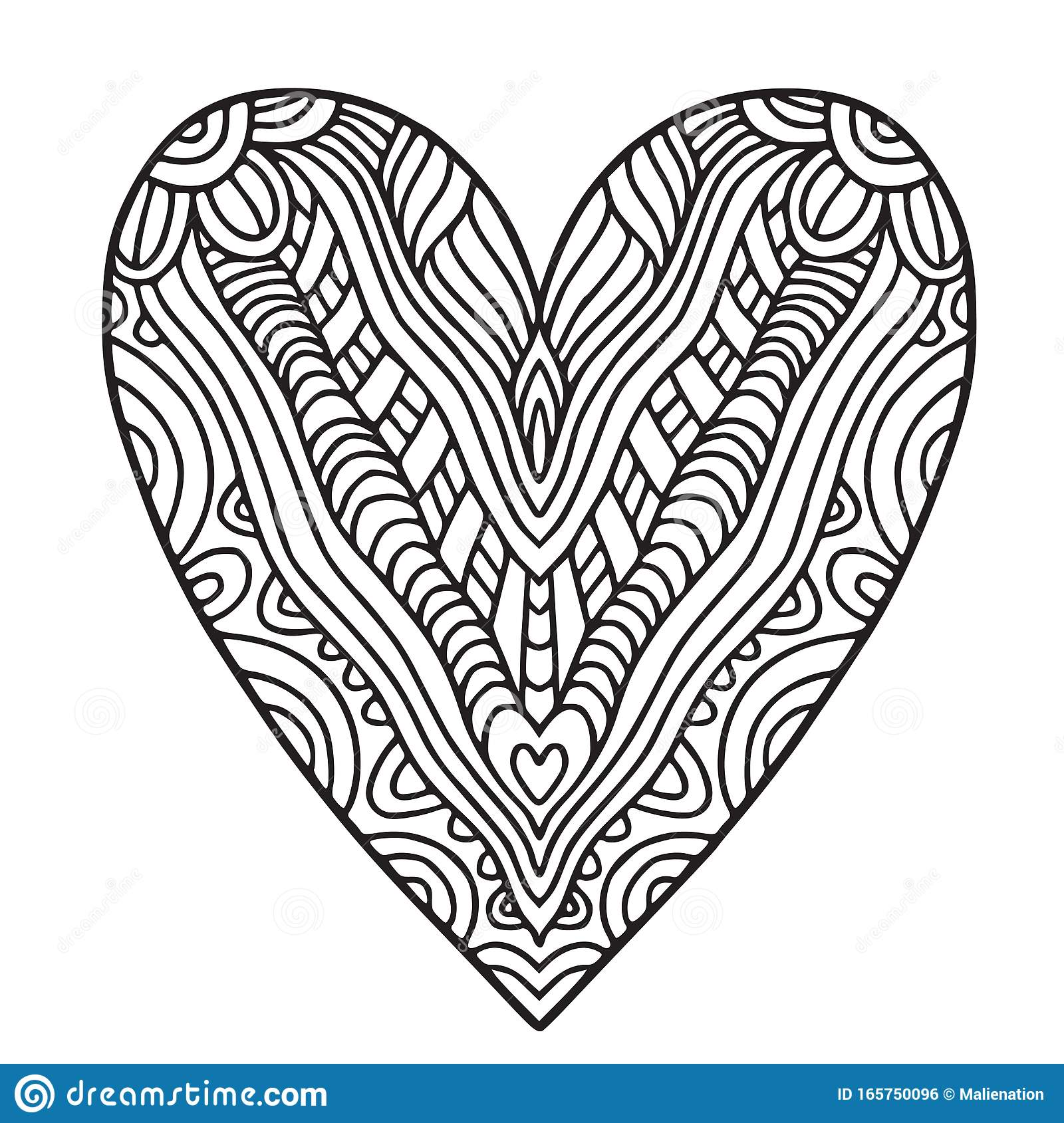 - Decorative Ornate Heart. Coloring Book Page Stock Vector