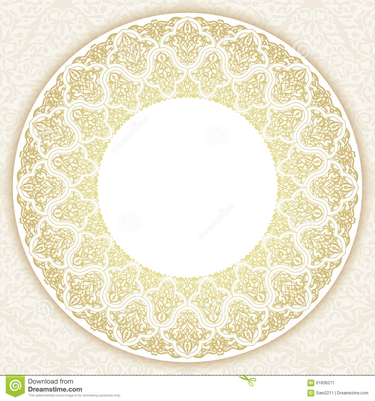 decorative ornate round frame in victorian style vector