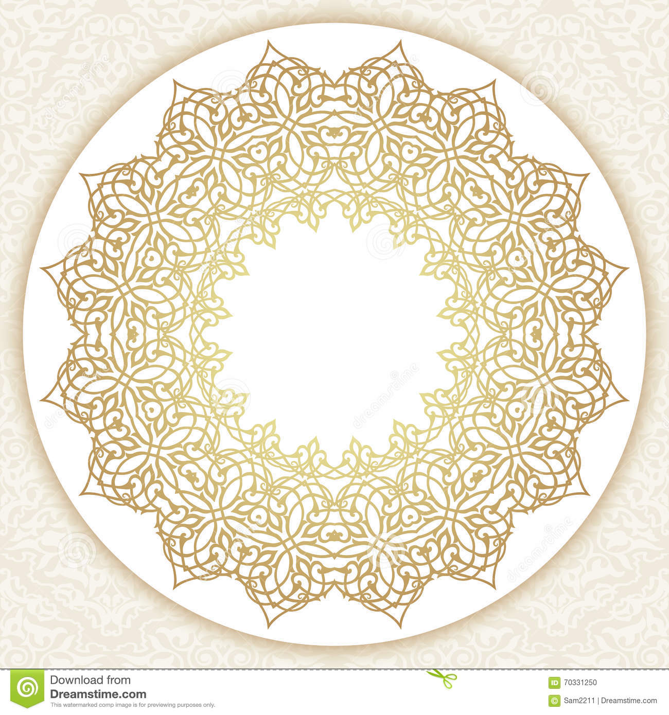 decorative ornate round frame in victorian style  vector illustration