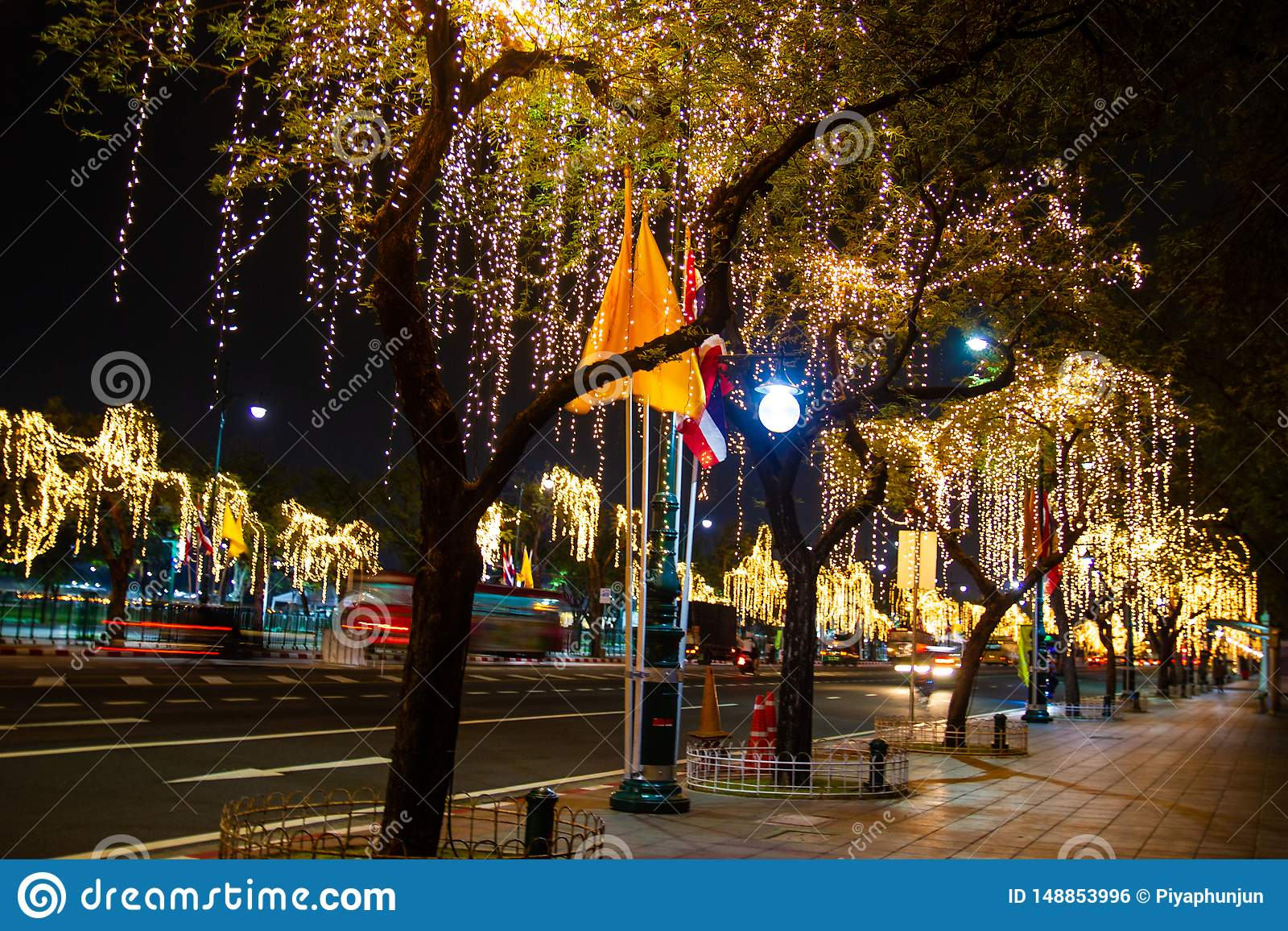Decorative Outdoor String Lights Hanging On Tree In The Garden At Night Time Stock Photo Image Of Celebration Bright 148853996