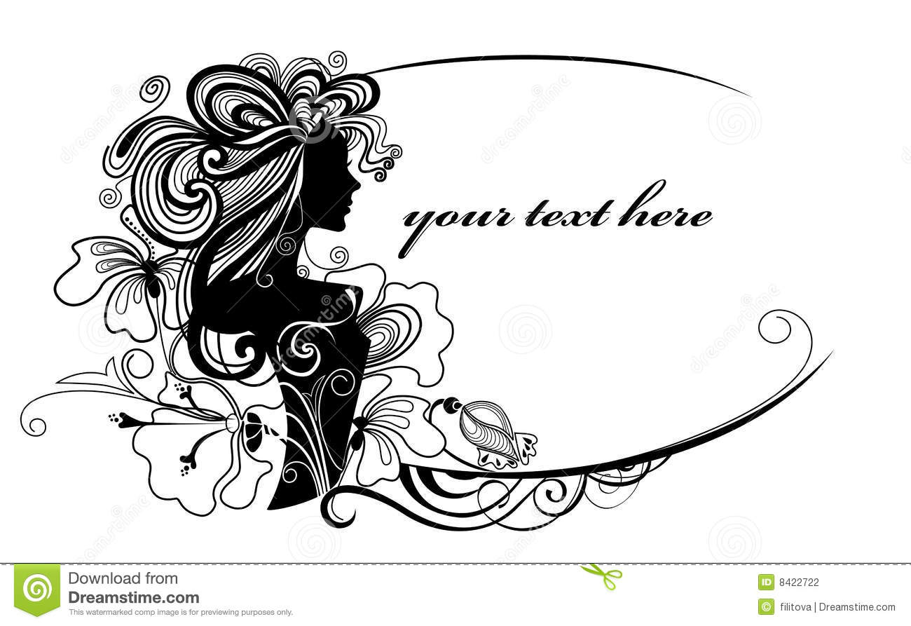 decorative oval frame with girl and flowers stock photography - Decorative Flowers