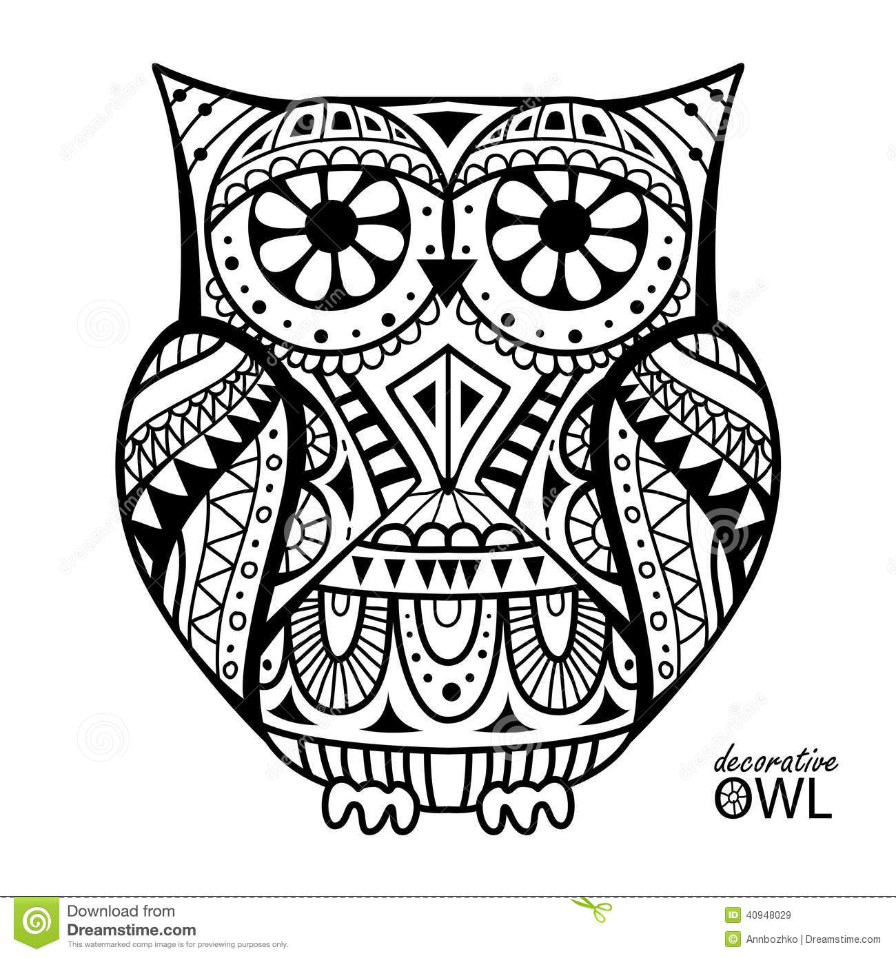 unique coloring pages owl ornate - photo#2