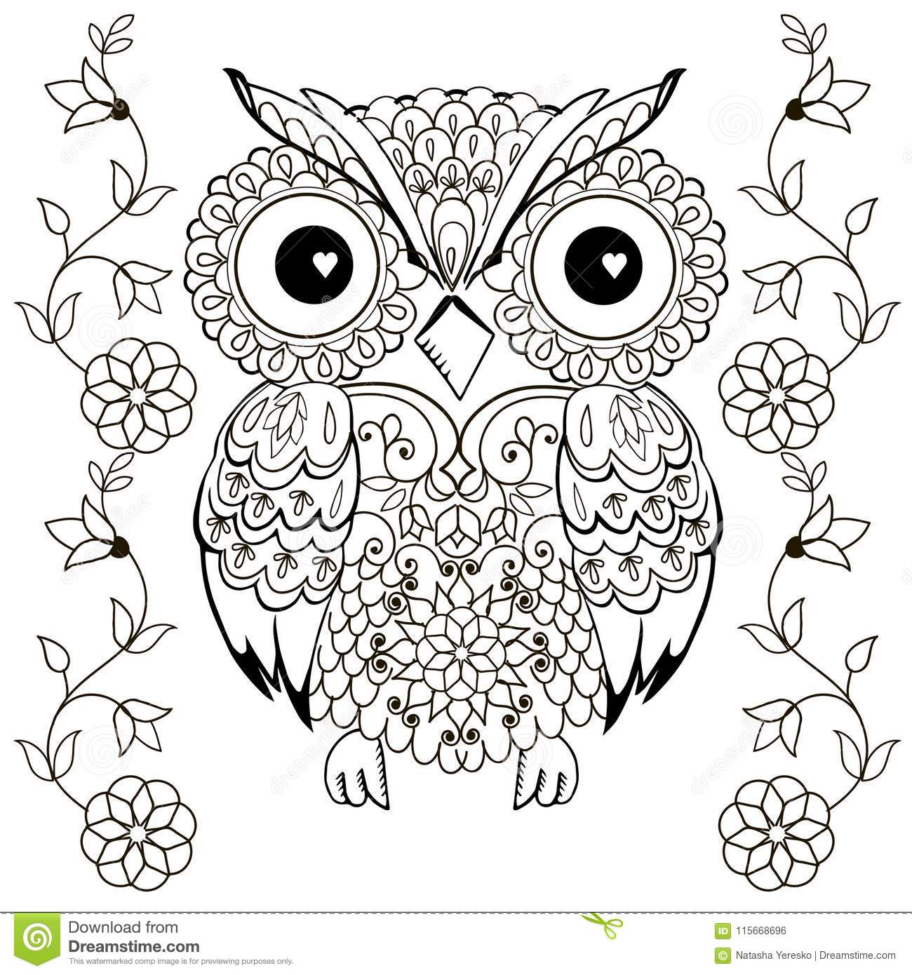 Owl Drawing For Coloring Antistress. Stock Illustration ...
