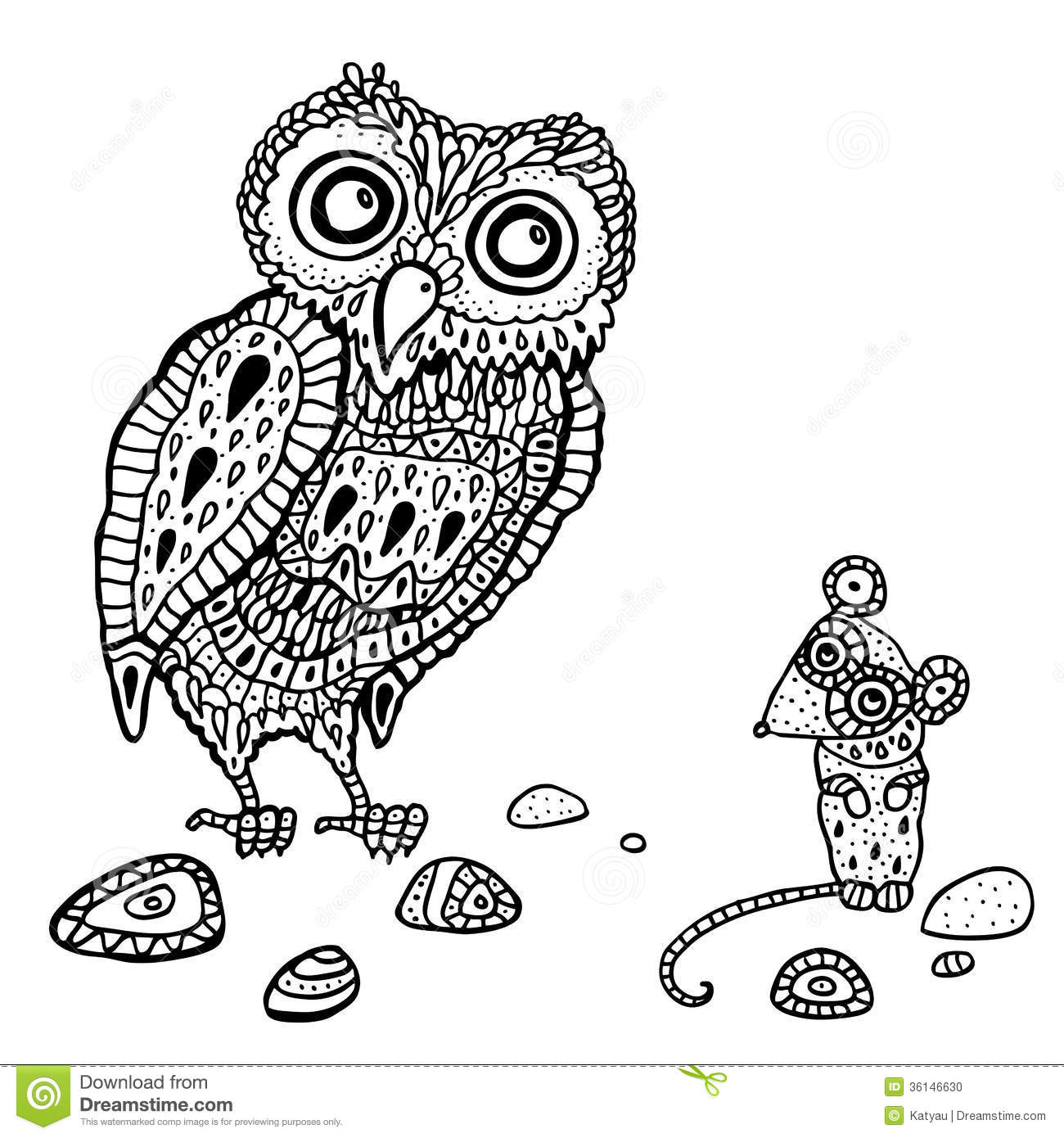Decorative Owl And Mouse Cartoon Illustration Stock
