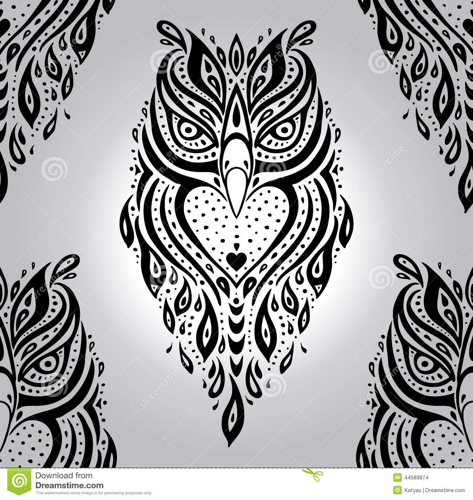 Decorative Owl Seamless Pattern Stock Vector Illustration Of